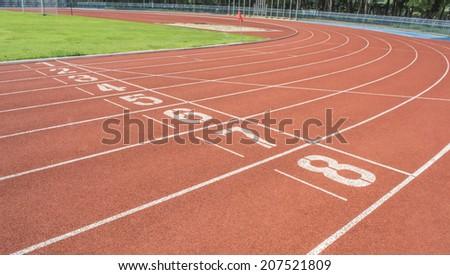 athletics Track Lane made with orange rubber - stock photo