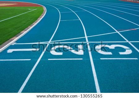 Athletics Track Lane Numbers - stock photo
