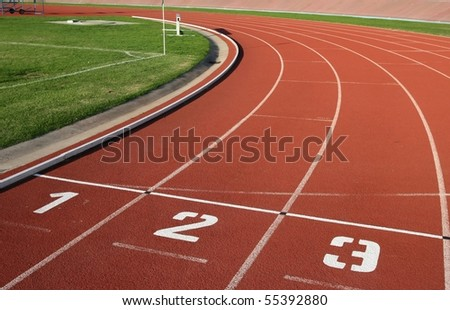 Athletics Track Lane Numbers - stock photo