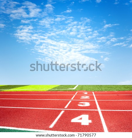 Athletics track under blue sky