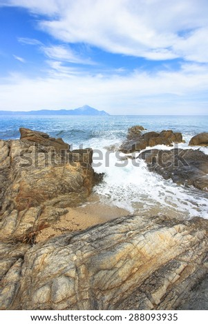 Athos. View from the Platanitsi beach in the Sithonia Peninsula,