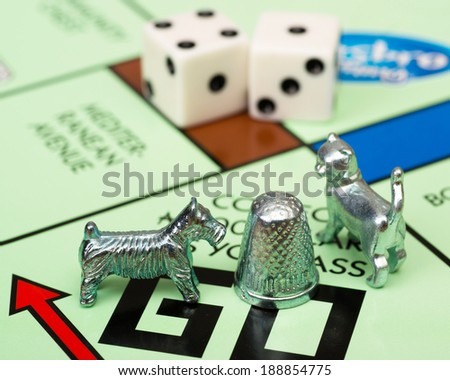 ATLANTA - APRIL 23, 2014: Close up of Monopoly game pieces on board. - stock photo