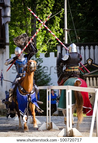 ATLANTA - APRIL 23:Knights joust during the annual Renaissance Festival in Atlanta on April 23, 2012. The festival is a popular annual tourist attraction in the Southeast