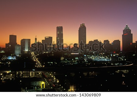 Atlanta at night in Georgia, USA - stock photo