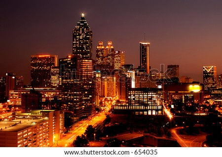 Atlanta Downtown at Night - stock photo