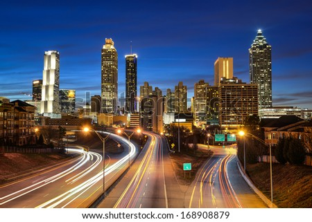 Atlanta downtown skyline during twilight blue hour - stock photo
