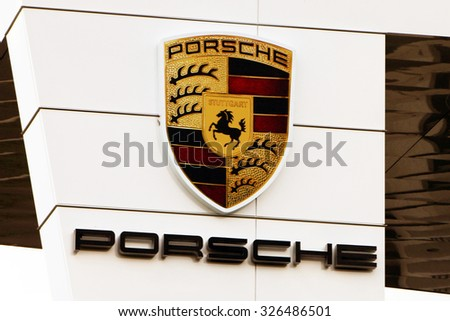 ATLANTA, GA-AUGUST, 2015:  Sign for the newly constructed headquarters for Porsche in the USA.  The facility also includes a race track where prospective customers can test drive a new Porsche. - stock photo