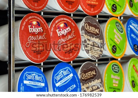 ATLANTA, GA -- FEB 16, 2014: Variety of K-cup flavors on a storage rack to be used in a Keurig single serve beverage maker.