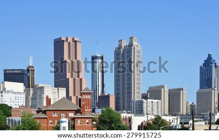 ATLANTA, GA -9 MAY 2015- View from the downtown Atlanta skyline in Georgia, United States.