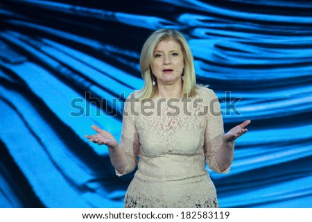 ATLANTA, GA, USA, MARCH 5, 2014 - Huffington Post Media Group President Arianna Huffington makes speech at Microsoft Convergence conference in Georgia Congress Center on March 5, 2014 in Atlanta, GA  - stock photo