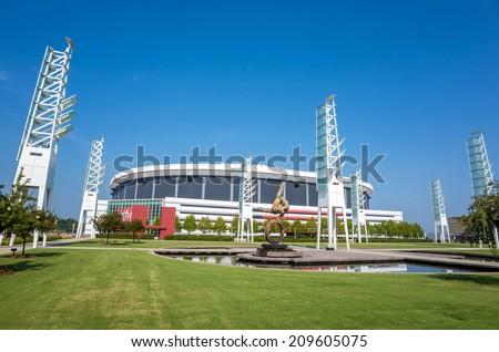ATLANTA, GEORGIA - August 4: The Georgia Dome in Downtown Atlanta is home to the Atlanta Falcons August 4, 2014 in Atlanta, Georgia. - stock photo