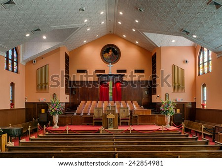 ATLANTA, GEORGIA - DECEMBER 2: Ebenezer Baptist Church on December 2, 2014 in Atlanta, Georgia. Martin Luther King, Jr. and his father were pastors of this church. - stock photo