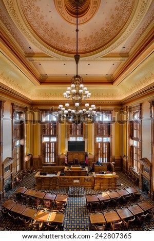ATLANTA, GEORGIA - DECEMBER 2: Senate Chamber in the Georgia State Capitol building on December 2, 2014 in Atlanta, Georgia