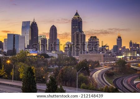 Atlanta, Georgia downtown skyline at sunrise. - stock photo