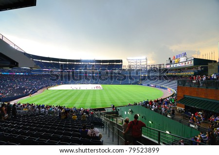 ATLANTA, GEORGIA - JUNE 16:  A rain delay at Turner field, home of the Atlanta Braves, during a game with the New York Mets on June 16, 2011 in Atlanta, Georgia.