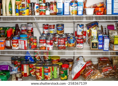 ATLANTA, GEORGIA - March 5, 2015: Photo of well stocked pantry ready for winter
