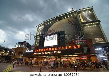 ATLANTA, GEORGIA - MAY 16: The clubhouse Store at Turner Field under stormy skies during a rain delay between the Braves and Mets on May 16, 2011 in Atlanta, GA. - stock photo