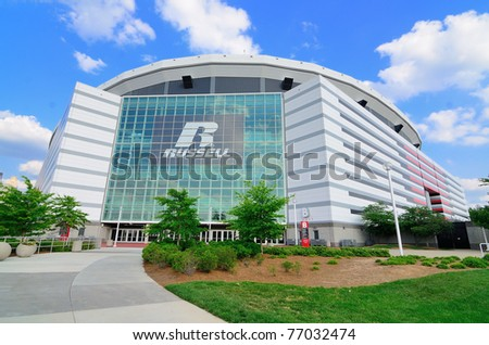 ATLANTA, GEORGIA - MAY 10: The Georgia Dome in Downtown Atlanta is home to the Atlanta Falcons May 10, 2011 in Atlanta, Georgia. - stock photo