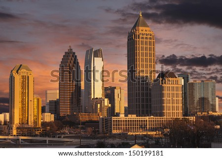 Atlanta Georgia skyline with sunset dusk sky - stock photo