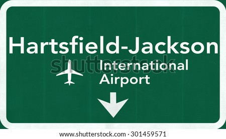 Atlanta Hartsfield Jackson USA International Airport Highway Road Sign 2D Illustration Texture, background, element - stock photo