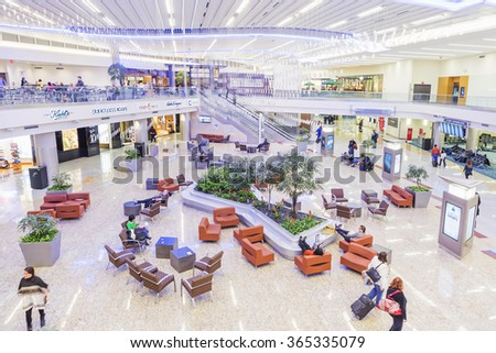 ATLANTA - January 19, 2016: Atlanta International Airport, interior, GA. Serving 89 million passengers a year, it is the world's busiest airport. Florida - stock photo
