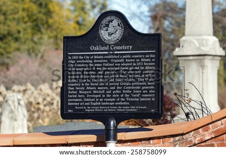 ATLANTA - JANUARY 25: Oakland Cemetery located in Atlanta, Georgia on January 25, 2015. Oakland Cemetery is the largest and most well-known cemetery in the city of Atlanta. - stock photo
