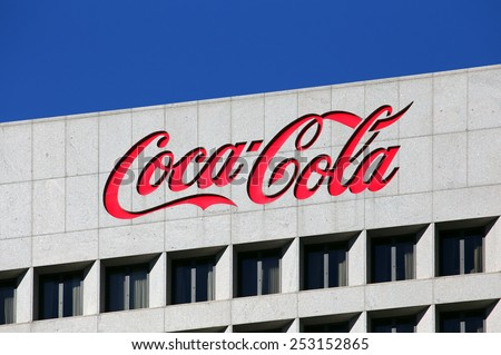 ATLANTA - JANUARY 25: The Coca-Cola World Headquarters building located in Atlanta, Georgia on January 25, 2015. The Coca-Cola Company is an American multinational beverage manufacturer. - stock photo