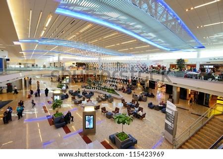 ATLANTA - OCTOBER 4: Atlanta International Airport October 4, 2012 in Atlanta, GA. Serving 89 million passengers a year, it is the world's busiest airport. - stock photo