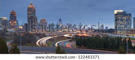Atlanta. Panoramic image of Atlanta skyline at twilight. - stock photo