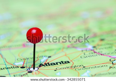 Atlanta pinned on a map of USA  - stock photo