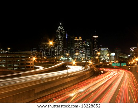 Atlanta rush-hour at night - long exposure - stock photo