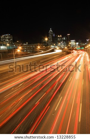 Atlanta rush-hour at night -  long exposure, ultra wide angle - Very dramatic - stock photo