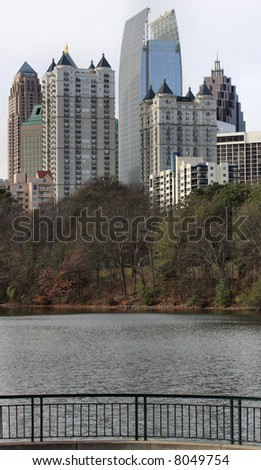 Atlanta's Midtown skyline in Winter as seen from a local park viewing area.