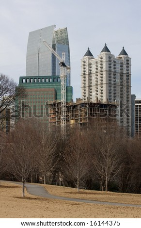 Atlanta's Midtown skyline in Winter as seen from a park setting. - stock photo