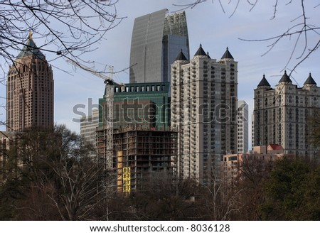Atlanta's Midtown skyline in winter.  Varied skyscrapers in Midtown, Atlanta USA. - stock photo