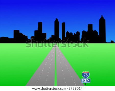 Atlanta Skyline and interstate 75 illustration JPG