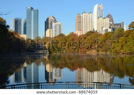 atlanta skyline at piedmont park - stock photo