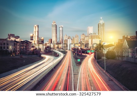 Atlanta skyline at sunny morning, Georgia, USA - stock photo