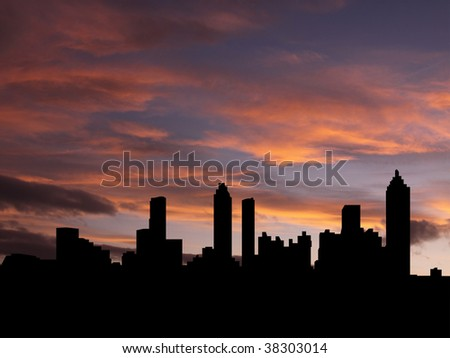 Atlanta skyline at sunset with beautiful sky illustration