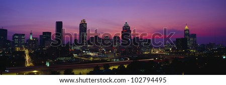 Atlanta Skyline, I-20, Georgia - stock photo
