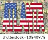 Atlanta text with American dollar bills illustration - stock photo