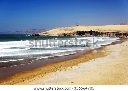 Atlantic beach near Essaouira, Morocco, Africa - stock photo