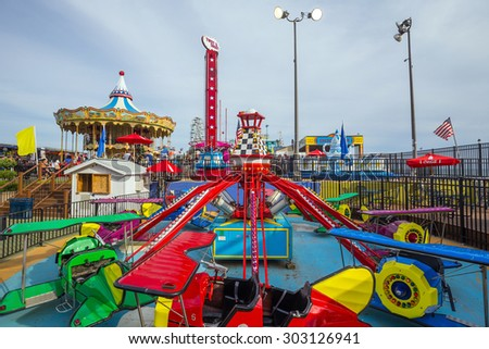 ATLANTIC CITY -AUGUST 3: The famous Steel Pier in Atlantic City, USA on August 3, 2015. Atlantic City's Steel Pier is sold for USD $4.25 million in AUG 2011 to Catanoso family. - stock photo