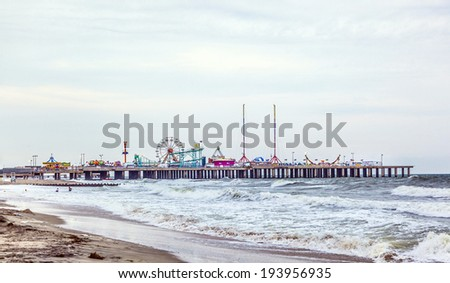 ATLANTIC CITY - JULY 13, 2010: View in the evening to famous Steel Pier  in Atlantic City, USA. Atlantic City's Steel Pier is sold for USD $4.25 million in AUG 2011 to Catanoso family. - stock photo
