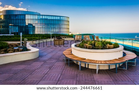 ATLANTIC CITY - MAY 30: Outdoor courtyard at Revel Casino Hotel on May 30, 2014, in Atlantic City, New Jersey. Revel is the tallest building in Atlantic City and a popular casino and resort. - stock photo