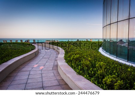 ATLANTIC CITY - MAY 30: Outdoor walkway at the Revel Casino Hotel on May 30, 2014, in Atlantic City, New Jersey. Revel is the tallest building in Atlantic City and a popular casino and resort. - stock photo