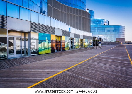 ATLANTIC CITY - MAY 30: The boardwalk and exterior of Revel Casino Hotel on May 30, 2014, in Atlantic City, New Jersey. Revel is the tallest building in Atlantic City and a popular casino and resort. - stock photo