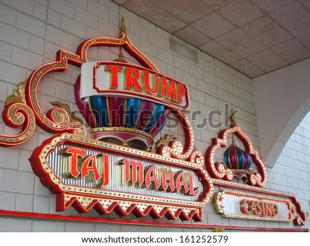 ATLANTIC CITY, NEW JERSEY - JUNE 1: Trump Taj Mahal  in Atlantic City, New Jersey, as seen on June 1, 2006. It is a hotel and casino located on the Boardwalk in Atlantic City. - stock photo