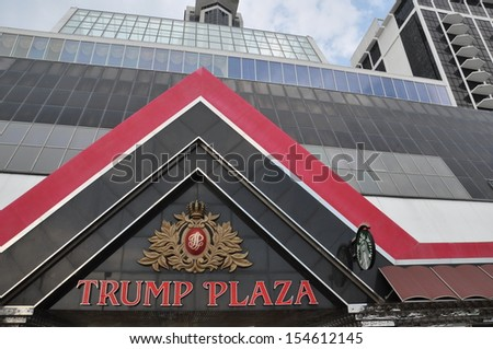 ATLANTIC CITY, NEW JERSEY - SEPT 1: Trump Plaza in Atlantic City, New Jersey, as seen on September 1, 2013. It is a hotel and casino located on the Boardwalk in Atlantic City and was opened in 1984. - stock photo