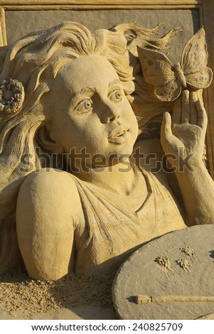 Atlantic City, NJ-July 28, 2014: World Cup Sand Sculpting event brought in artist from around the world, including Pavel Mylnikov, from Russia. Mr. Mylnikov work shows some amazing detail to his work. - stock photo